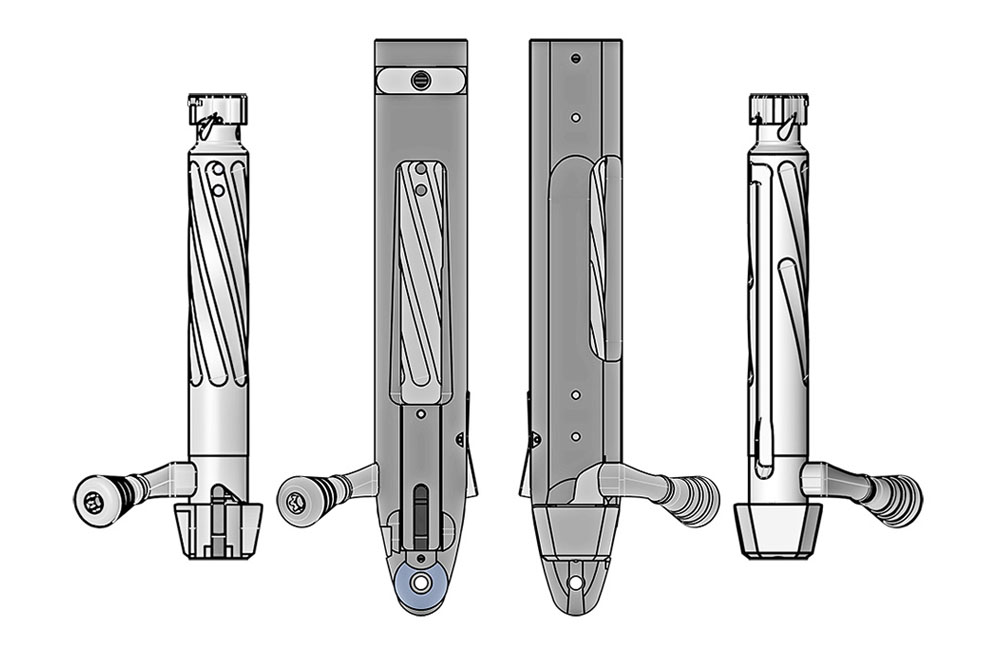 Sabatti Tactical EVO - 3 tenons bolt, top and bottom view